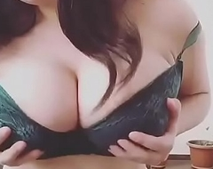 Hot Desi Indian big boobs press in bra